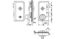 Hafele - Замок WC пластик колір: срібний лівий - 981.01.829