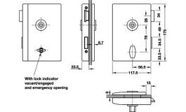 Hafele - Замок WC для скляних дверей нержавіюча сталь матова правий - 981.01.870