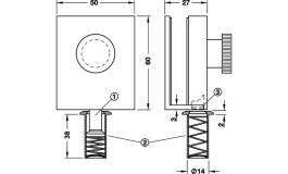 Hafele - Засувка для скляних дверей нержавіюча сталь матова - 981.01.900