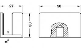 Hafele - Відповідна частина до засувки для скляних дверей 8-10мм алюміній колір: срібний - 981.01.941