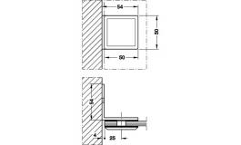 Hafele - Затискач для скла кутовий латунь хромована полірована 50х54мм - 981.02.252