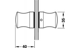Hafele - Ручка-кнопка для скляних дверей латунь хром.поліров. 35x40мм - 981.10.038