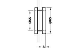 Hafele - Ручка для скляних дверей  без отвору латунь хромована матова 8 мм - 981.10.047