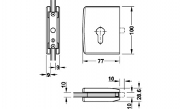Hafele - Замок для розсувних дверей PC латунь нікельована матова - 981.14.076