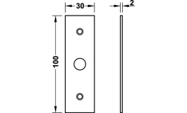 Hafele - Відповідна планка плоска хромована матова 30х100 мм - 981.14.134