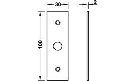 Hafele - Відповідна планка плоска нікельована матова 30х100 мм - 981.14.136