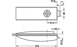 Hafele - Замок UV алюміній колір: нержавіюча сталь - 981.26.010