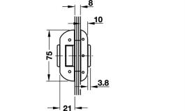 Hafele - Замок PC латунь,хром.,полір. - 981.26.452