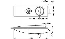 Hafele - Замок WC алюміній колір: нержавіюча сталь 66мм - 981.26.610