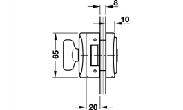Hafele - Замок WC алюмінієвий колір: срібний 66мм - 981.26.611