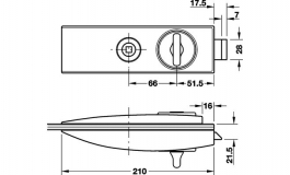 Hafele - Замок WC латунь полірована 66мм - 981.26.618