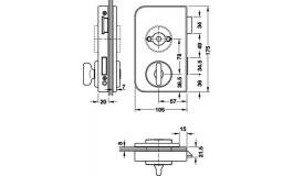 Hafele - Замок для ванної кімнати алюм. колір нержавіюч. сталь по DIN лівий - 981.26.660