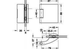 Hafele - Комплект петель алюміній колір: срібний (3 частини) - 981.27.011