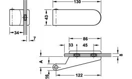 Hafele - Комплект петель алюміній колір: срібний (2 частини) - 981.27.021