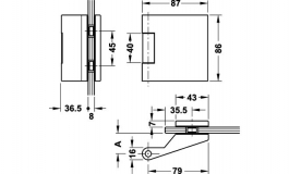 Hafele - Петля для скляних дверей латунь полірована для скла 8-10мм - 981.27.038
