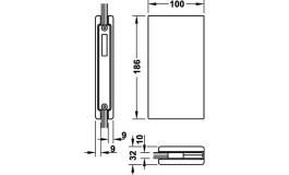 Hafele - Відповідна частина до замка для скляних дверей алюмінієва колір: срібний для скла 8-10мм - 981.29.511