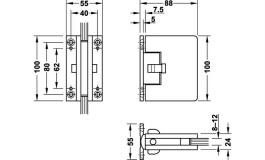 Hafele - Петля для дверей, що відкр.в об.сторони кут розкр.90гр. в об.стор.товщ.8,10 або 12мм нав.до 60 кг ал.нерж.ст. - 981.31.020