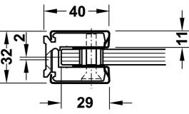Hafele - Замикаючий профіль настінний та для стелі для з'єдн. 2 стац. скляних перегор. з примик. до стіни кришка з нерж.ст. - 981.35.210
