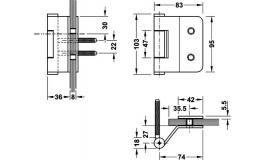 Hafele - Набір петель для скляних дверей сталь, хромована матова з 3-ох частин ліва VG3990 - 981.48.004
