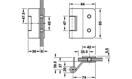 Hafele - Набір петель для скляних дверей сталь, хромована матова з 3-ох частин VXG7990/100ERN - 981.48.200