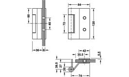 Hafele - Набір петель для скляних дверей сталь, хромована матова з 3-ох частин VXG7990/120K - 981.48.234