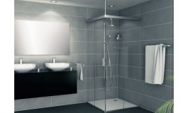 Hafele - Комплект фурнітури для скляних розсувних дверей Banio 40 GFE алюміній колір сріблястий  900 мм - 981.60.109