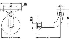 Hafele - Штанга підтримуюча сталь колір срібляст. - 982.01.021