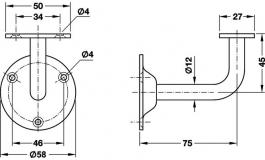 Hafele - Штанга підтримуюча нержавіюча сталь матова - 982.01.090