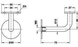 Hafele - Штанга підтримуюча сталь колір срібляст. - 982.01.111