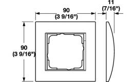 Hafele - Рамка одинарна для дверного терміналу 55 E22 колір нержавіюча сталь, плоский монтаж - 985.52.010