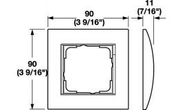 Hafele - Рамка одинарна для дверного терміналу 55 E22 колір алюміній, плоский монтаж - 985.52.019