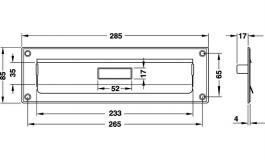 Hafele - Пластина з отвором для листів нержав. сталь чорна 285x85 мм - 986.00.703