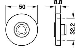 Hafele - Кнопка дверного дзвінка, нержавіюча сталь, матова D=50 мм - 986.10.000