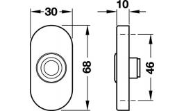 Hafele - Дверний дзвінок нержавіюча сталь матова 30х68мм - 986.10.010