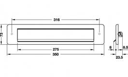 Hafele - Щілина для листів нержавіюча сталь 350мм - 986.10.040