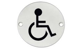 """Hafele - Табличка з символом """"Люди з обмеженими можливостями""""  нержавіюча сталь матова D 75 мм під шуруп - 987.20.040"""