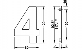 """Hafele - Номер будинку """"3"""" нержавіюча сталь матова  80x120 мм - 987.21.130"""