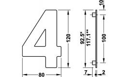 """Hafele - Номер будинку """"4"""" нержавіюча сталь матова  80x120 мм - 987.21.140"""