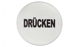 """Hafele - Табличка з символом """"Druken"""" нержавіюча сталь матова D 75 мм самоклеюча - 987.21.350"""