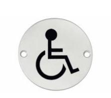 """Hafele - Табличка з символом """"Інвалід"""" нержавіюча сталь колір: латунь D75 мм під шуруп - 987.20.048"""